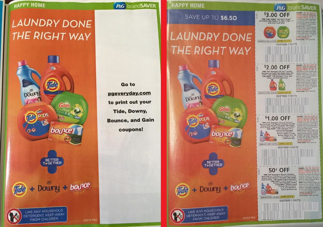 P&G coupon pages